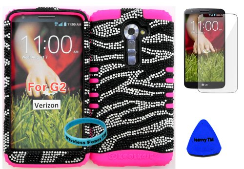 Wireless Fones Tm High Impact Hybrid Rocker Case For Lg G2 Vs980(Verizon Only) Hard Bling Black & Silver Zebra On Pink Silicone With Screen Protector, Isavvy Pry Tool & Wrist Band