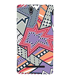Star Design Pattern 3D Hard Polycarbonate Designer Back Case Cover for Sony Xperia C3 Dual D2502 :: Sony Xperia C3 D2533