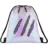 Segorts Sequin Mermaid Drawstring Bag Reversible Sequin Dance Bag for Girls Kids