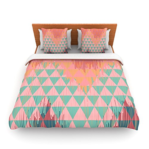 "Kess Inhouse Nika Martinez ""Ikat Geometrie Ii"" Green Pink King Fleece Duvet Cover, 104 By 88-Inch front-957364"