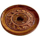 "Accessories Round Burners Wooden Carved ""Vines"" Incense Burner Cones or Sticks, 4"" L x 4"" W"