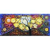 Klimt Baum des Lebens - Panorama - große Kunst Öl auf Leinwand Gemälde - Hervorragende Qualität und Handwerkskunst, handgefertigte Wandkunst Transkription des inspirierende Arbeit von Klimt