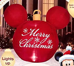 Disney mickey mouse ears red merry christmas for Outdoor merry christmas ornaments