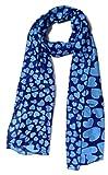 Anuze Fashions Blue Heart Print Scarves