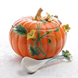 Sorelle Raised Porcelain Pumpkin Tureen with Ladle