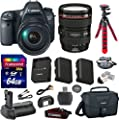 "Canon EOS 6D 20.2 MP Full-Frame CMOS Digital SLR Camera Bundle with Canon EF 24-105mm f/4 L IS USM Lens + Transcend 64GB Memory Card + Canon Deluxe Case + 12"" Spider Tripod + Battery Power Grip"