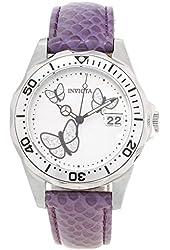 Invicta Pro Diver White Dial Purple Leather Ladies Watch 19740