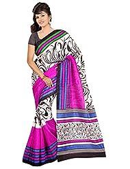 Winza Art Bhagalpuri Cotton Silk Party Wear Print Saree For Ladies & Women