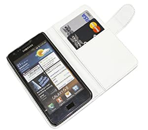 iTALKonline BIANCO Esecutivo Portafoglio Custodia Cover Coperchio con Carta di Credito / Porta Biglietti Per Samsung i9100 Galaxy S II S2