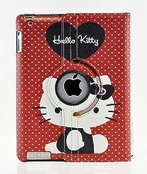 Hello Kitty Design 360 Degree Rotating PU Leather Hard Case for Apple iPad 4 3 2 Mini 2 with Retina and iPad Air (iPad Air Color 4)