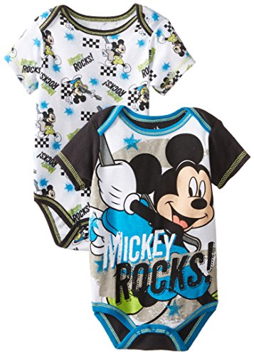 Disney Baby Boys Newborn Mickey Mouse 2 Pack Bodysuit, Black, 6-9 Months front-89008
