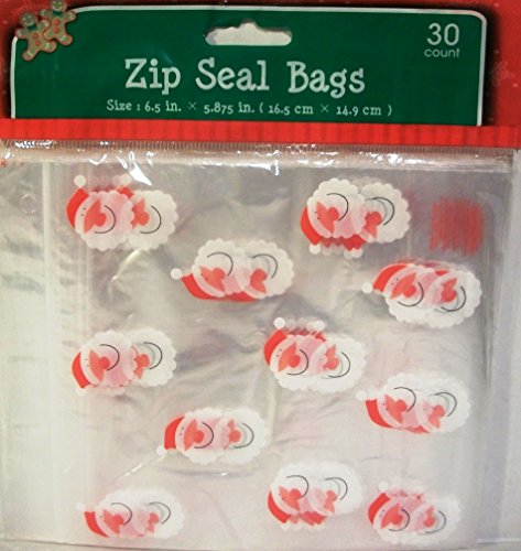 Santa Zip Seal Plastic Bags 30ct