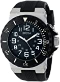 Breda Men's 9302-Black Clinton Tachometer Brushed Metal Black Sport Watch