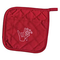 ILY Pot Holder with Pocket - Red