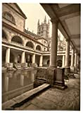 13cm x 18cm (1890 - 1900) Vintage Photochrom Postcard Reprint of Roman Baths And Abbey III, Bath, Somerset, England