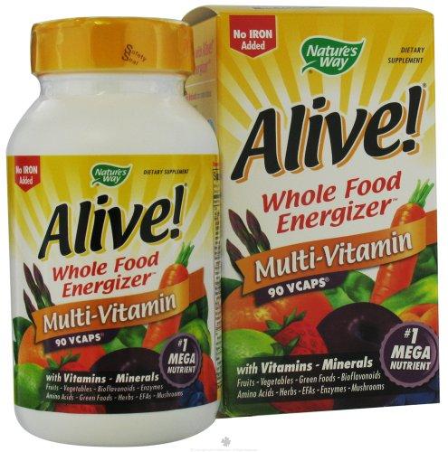 Natures Way Alive Whole Food Energizer Multivitamin Vegetarian Capsules - 90 Ea, 6 Pack