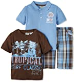Little Rebels Boys 2-7 Three-Piece Surf Classic Plaid Short Set