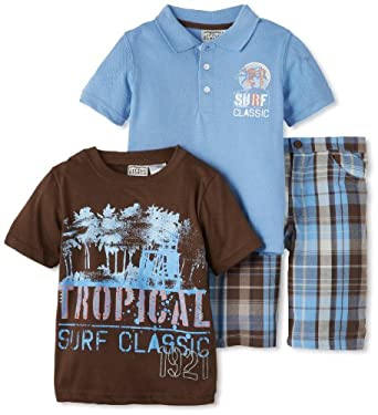 Little Rebels Boys 2-7 3 Piece Surf Classic Plaid Short Set, Medium Blue, 6