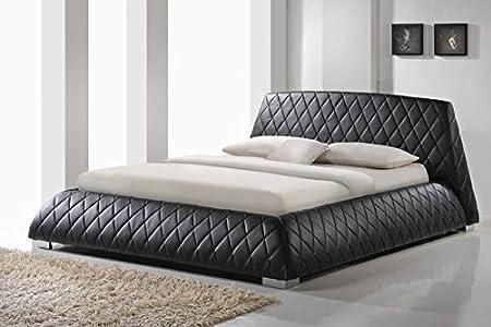 Modern Furniture Direct Giovani Designer King Size Leather Bed Frame, 5 ft, Black