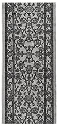 Custom Size GREY Egyptian Print Traditional Persian Rubber Backed Non-Slip Hallway Stair Runner Rug Carpet 31 inch Wide Choose Your Length 31in X 7ft