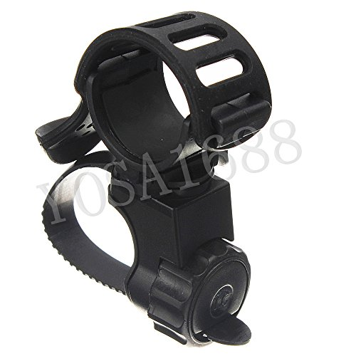 Yosa 360 Degree Swivel Bike Bicycle Cycle Flashlight Torch Mount LED Head Front Light Holder Clip Rubber for Diameter 20-45mm