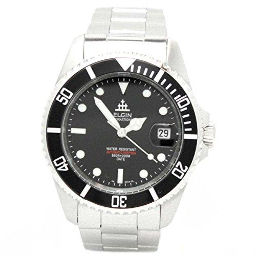 [エルジン]ELGIN 腕時計 自動巻き ダイバーズモデル 200M防水 ブラック FK531 メンズ