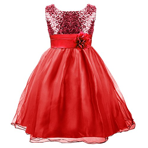 Acecharming Girls' Formal Flower Party Wedding Gown Bridesmaid Sequin Mesh Dress (9-10years, Red)