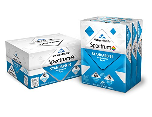 Georgia-Pacific Spectrum® Standard 92 Multipurpose Paper, 8.5 x 11 Inches, 1 box of 3 packs (1500 Sheets) (998606)