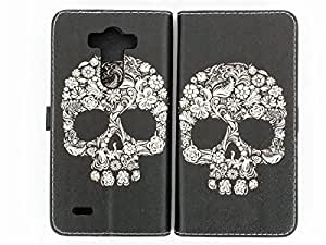 G3 Case, LG G3 Wallet CASE - Floral Skull Flower Sugar Skull Rose Pattern Premium PU Leather Wallet Case Stand Cover with Card Slots Cash Compartment For LG G3 (Not for LG G3 mini) + CoolGiftCase Stylus
