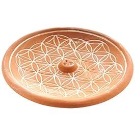 Berk KH-560-BR - Soporte para incienso (cerámica), diseño de flor de la vida, color marrón