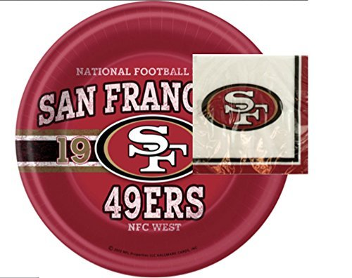 Bundle San Francisco 49'ers Party Plates and Napkins - 24 Pieces in All by Wholeness Home
