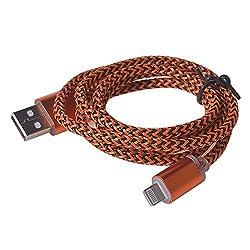LIKESEA - Orange Nylon Braided Design - Premium Data Sync Charger 8 Pin USB Cable for Apple iPhone 6, 6S, 6 Plus, 6S Plus, 5S, 5C, iPad Air, iPad Mini/ Mini 2, iPad 4, iPod 5, and iPod Nano 7