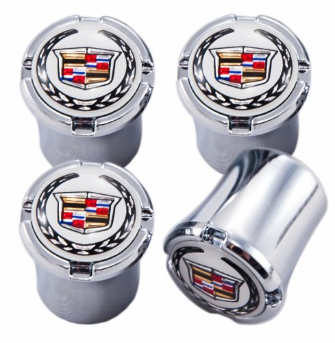White & Chrome Cadillac Emblem Logo Valve Stem Caps ; CTS, CTS-V, SRX, ATS, XTS, ELR (Cadillac Emblem Gold compare prices)