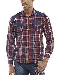 Bandit Red Checks Casual slim Fit Shirt