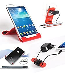 Riona Tablet & Mobile holder A5L Red + Hanger Stand + Cable Organizer + Scratch Gu... A5LR-C
