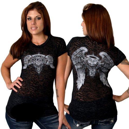 Hot Leathers Asphalt Angel Ladies Burnout Short Sleeve Tee  (GLD1083, Black, Large)