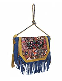 Indian Leather Crafted Traditional Embroidered With Fringes Women Shoulder Sling Bag