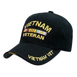 Vietnam Veteran Embroidered Military Baseball Cap by Rapid Dominance (Black)