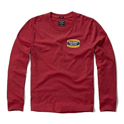 abercrombie-fitch-uomo-applique-logo-maglietta-a-maniche-lunghe-in-rosso-nuova-etichetta-red-small