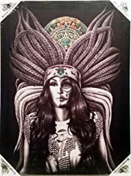 DGA Day of the Dead Aztec Indian Queen Stretched Canvas Wood Framed Wall Art 12x16 Inches - Azteca
