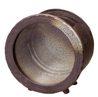 信楽焼陶器 インテリア小物 陶水槽丸 (黒釉) 中 7080-06