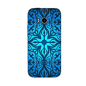 BLUE WHITE PATTERN BACK COVER FOR HTC ONE M8