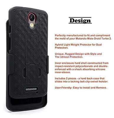 Droid Turbo 2 Case, NageBee - Hybrid Design Carbon Fiber Hard Armor Holster Locking Belt Swivel Clip Combo Case for Verizon Motorola DROID Turbo 2 (2015 Release) from NageBee