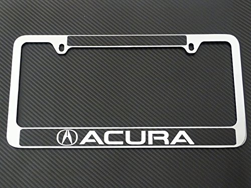 Acura license plate frame chrome metal, carbon fiber details, chrome text (Mdx License Plate Frame compare prices)
