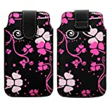 Wayzon Premium Quality Organic PU Leather Designed Protection Pouch Case Cover Skin Wallet Holster Pocket With Pacific Flowers On Black Surface For Blackberry Pearl 8110
