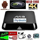 ANDROID TV BOX M8 *****CUSTOM BUILT XBMC SOLD ONLY BY ANDROIDTVBOXESUK***** FULLY LOADED QUAD CORE**4K 4.4.4 KITKAT ULTRA-HD FULLY JAILBROKEN XBMC MOVIES SPORTS GAMES ADULT NEXT GENERATION ANDROID TV BOX FASTEST ON THE MARKET TODATE JUNE RELEASE 2014 WORLDWIDE TV AT YOUR FINGER TIPS WIFI AND ETHERNET CONNECTION 8GB STORAGE 5G WIFI 4X CPU CORTEX A9 GPU MALI 450