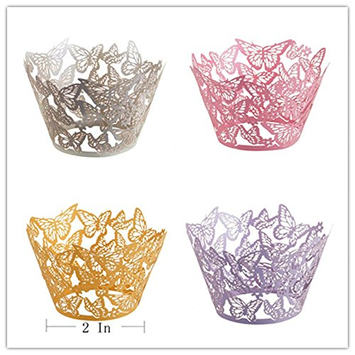 Yansanido Pack of 48 Mini Dancing Butterfly Lace Laser Cut Cupcake Wrapper Liner Baking Cup Muffin Case Trays Wedding Birthday Party Decoration (48pcs Butterfly)