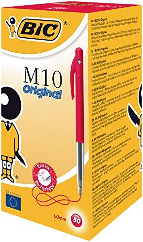 bic-m10-stylo-a-bille-pointe-moyenne-retractable-corps-plastique-couleur-encre-rouge-lot-de-50