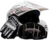 Youth Offroad Gear Combo Helmet Gloves Goggles DOT Motocross ATV Dirt Bike Motorcycle Pink Black - Medium