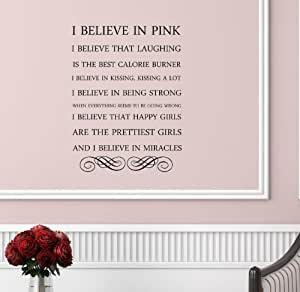 click down i believe in pink wall art